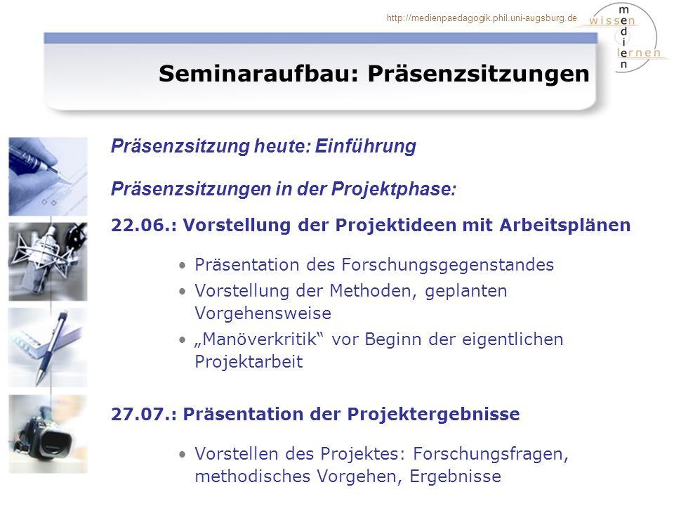 Seminaraufbau: Präsenzsitzungen