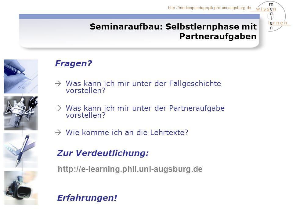 Seminaraufbau: Selbstlernphase mit Partneraufgaben
