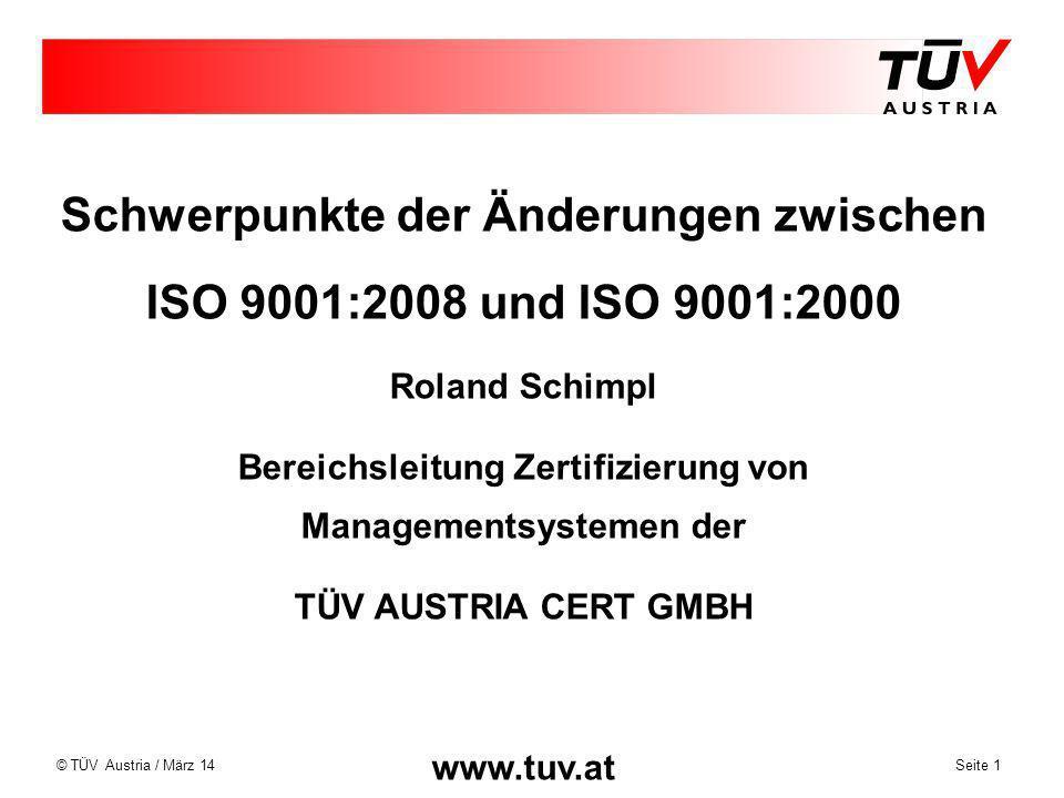 Schwerpunkte der Änderungen zwischen ISO 9001:2008 und ISO 9001:2000