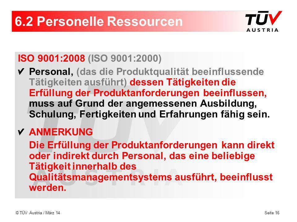 6.2 Personelle Ressourcen