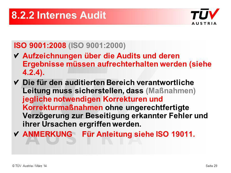 8.2.2 Internes Audit ISO 9001:2008 (ISO 9001:2000)