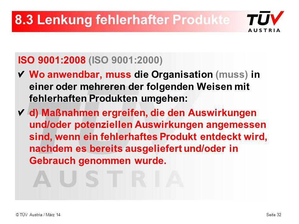8.3 Lenkung fehlerhafter Produkte