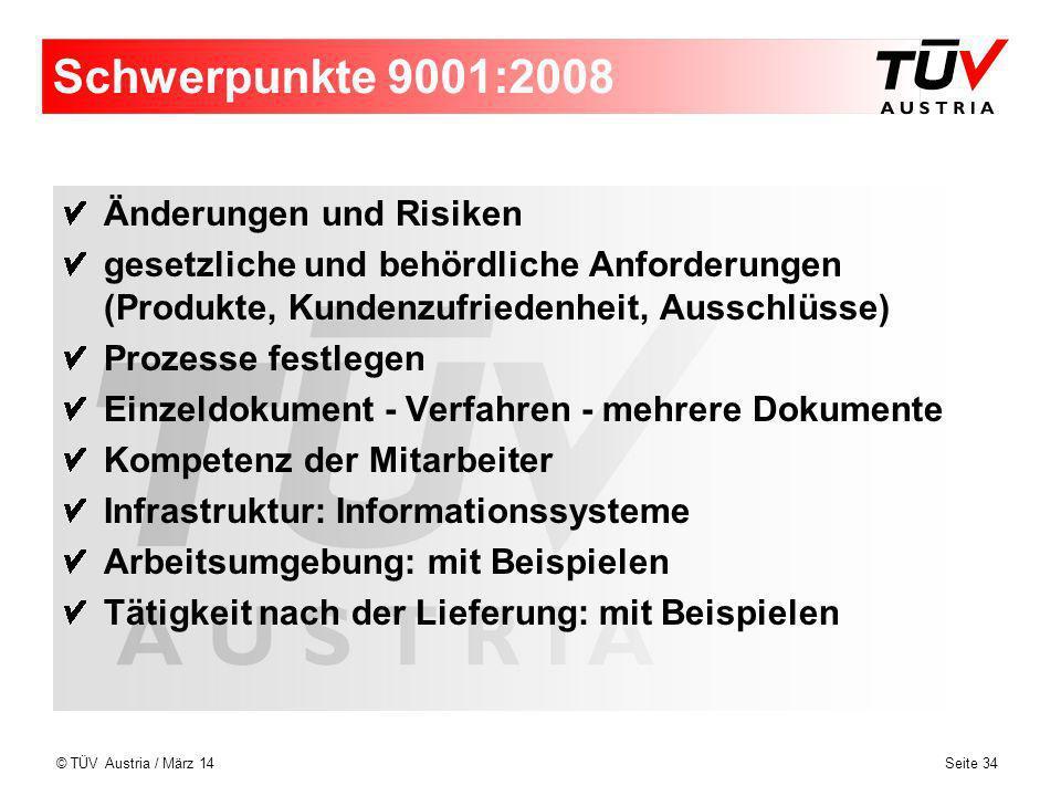 Schwerpunkte 9001:2008 Änderungen und Risiken