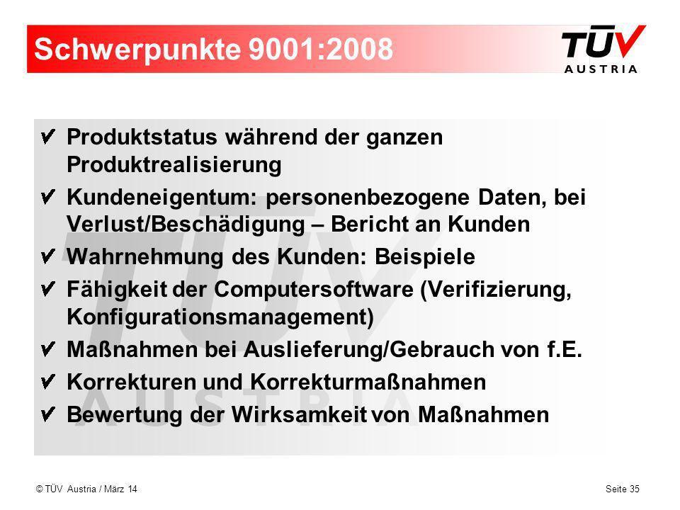 Schwerpunkte 9001:2008 Produktstatus während der ganzen Produktrealisierung.