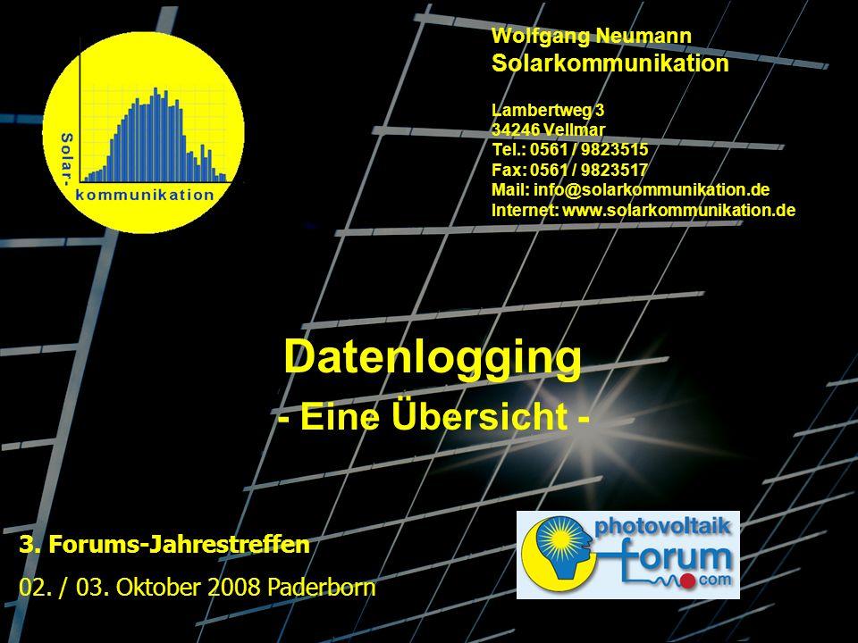 Datenlogging - Eine Übersicht -