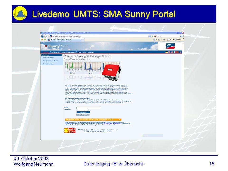 Livedemo UMTS: SMA Sunny Portal