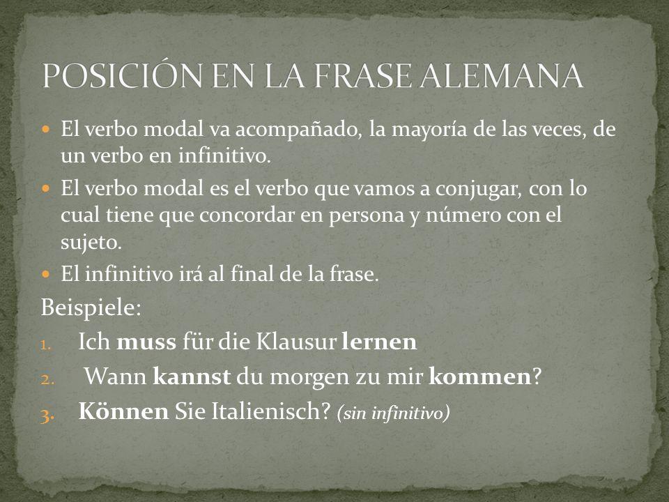 POSICIÓN EN LA FRASE ALEMANA