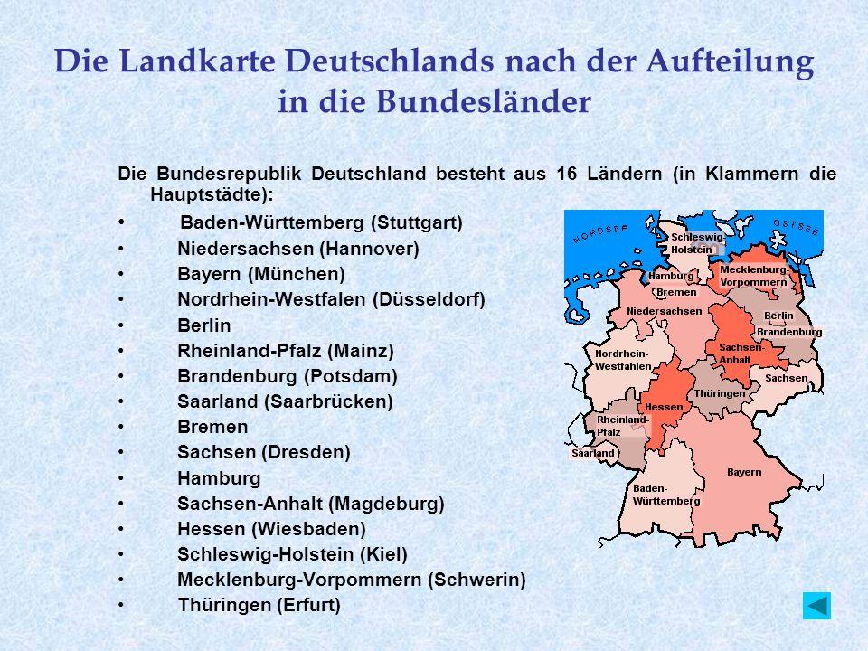 Die Landkarte Deutschlands nach der Aufteilung in die Bundesländer