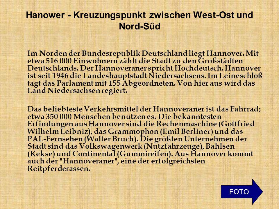 Hanower - Kreuzungspunkt zwischen West-Ost und Nord-Süd