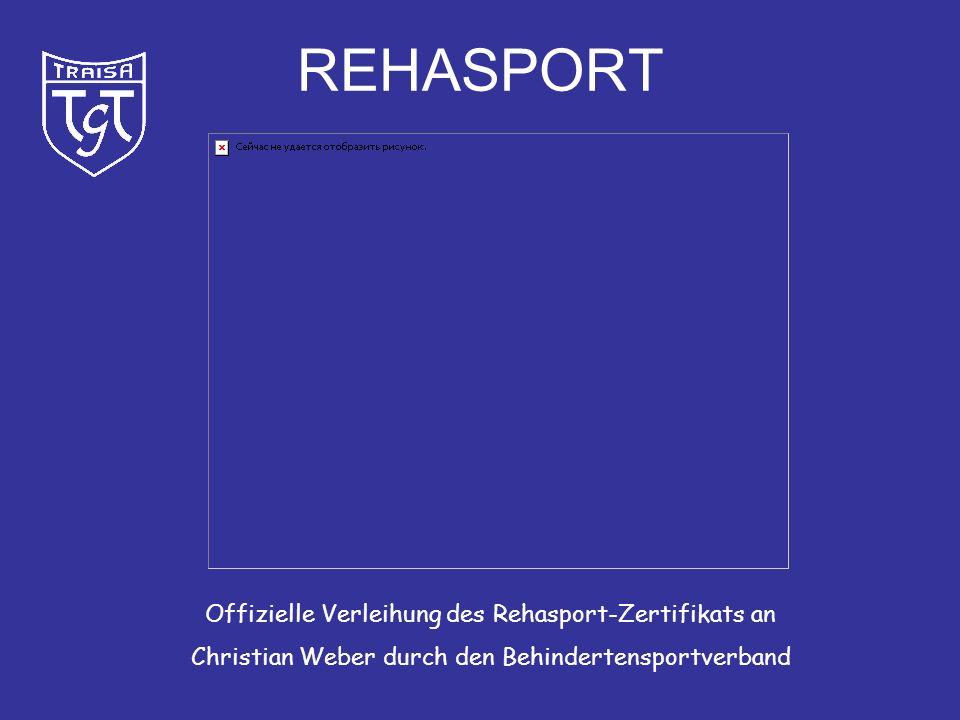 REHASPORT Offizielle Verleihung des Rehasport-Zertifikats an