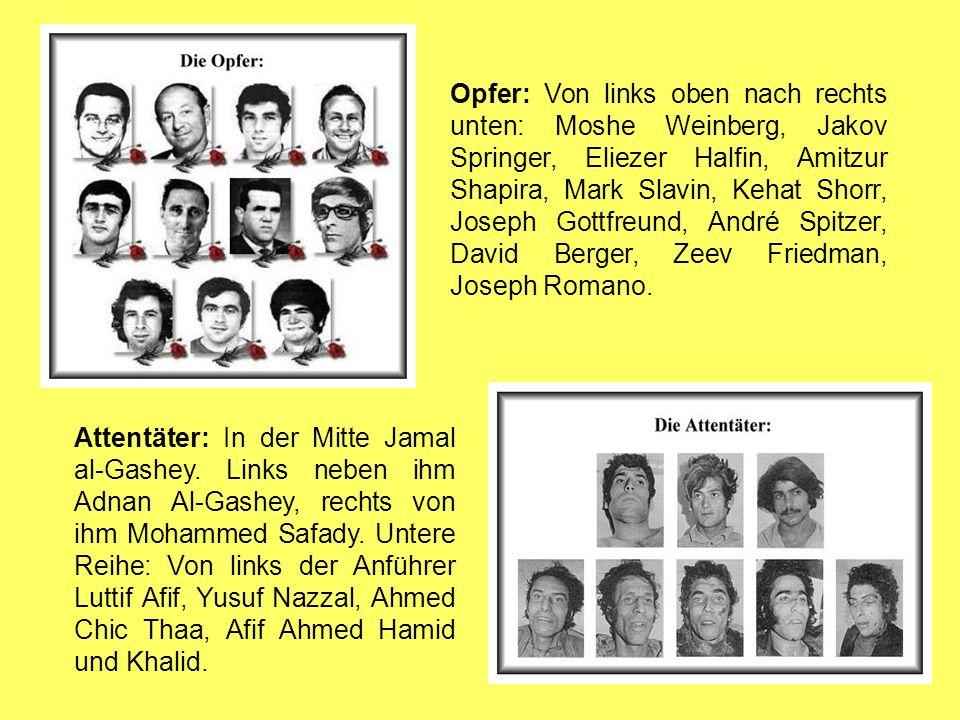 Opfer: Von links oben nach rechts unten: Moshe Weinberg, Jakov Springer, Eliezer Halfin, Amitzur Shapira, Mark Slavin, Kehat Shorr, Joseph Gottfreund, André Spitzer, David Berger, Zeev Friedman, Joseph Romano.