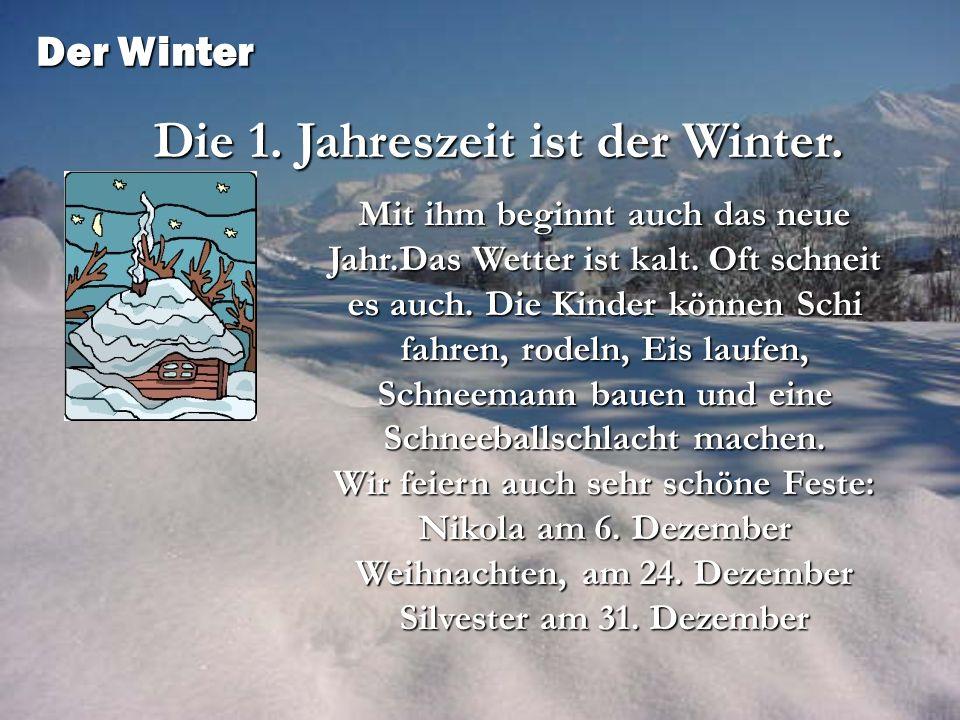 Die 1. Jahreszeit ist der Winter.