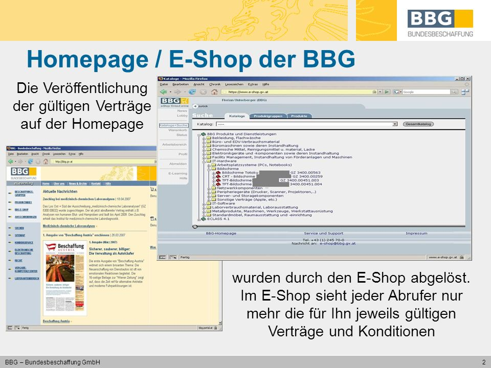 Homepage / E-Shop der BBG