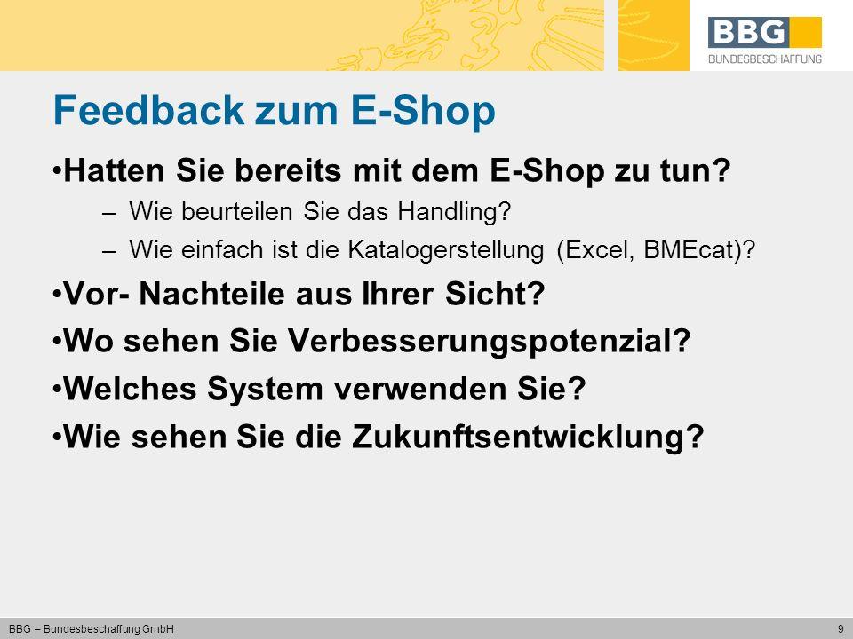 Feedback zum E-Shop Hatten Sie bereits mit dem E-Shop zu tun