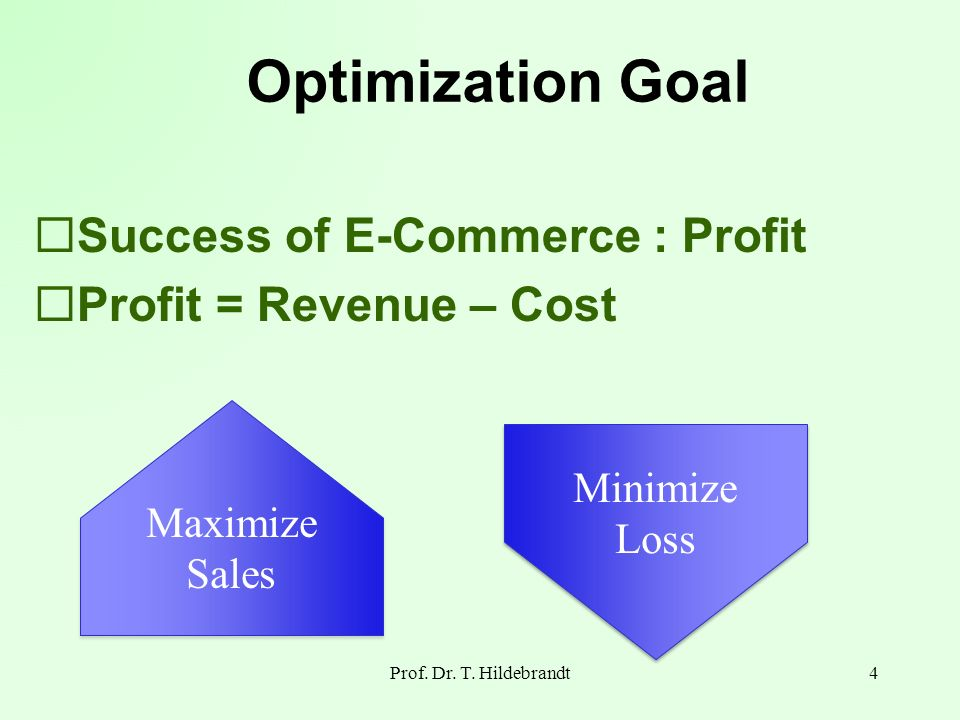 Optimization Goal Success of E-Commerce : Profit