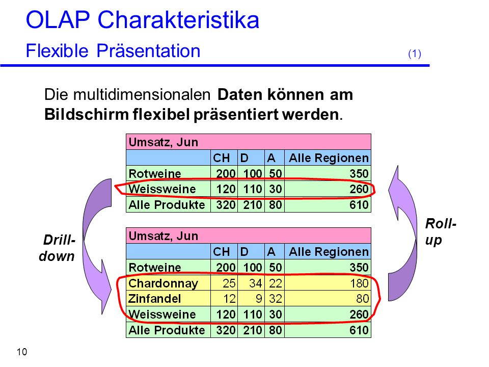 OLAP Charakteristika Flexible Präsentation (1)