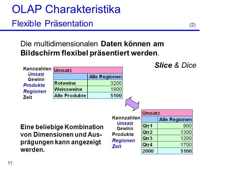 OLAP Charakteristika Flexible Präsentation (2)