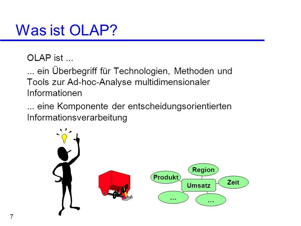 Was ist OLAP OLAP ist ... ... ein Überbegriff für Technologien, Methoden und Tools zur Ad-hoc-Analyse multidimensionaler Informationen.
