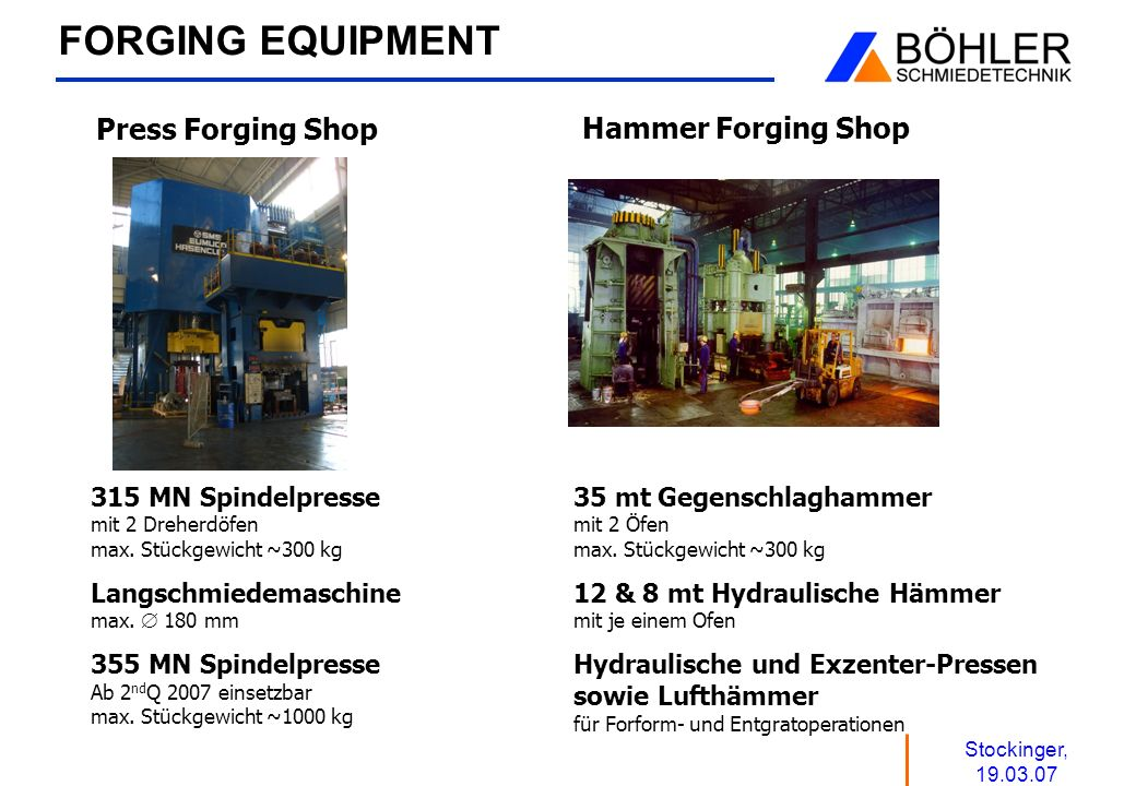 FORGING EQUIPMENT Press Forging Shop Hammer Forging Shop