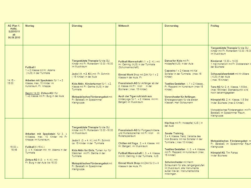 AG Plan 1. Halbj. SJ2010/11 ab 06.09.2010 Montag Dienstag Mittwoch