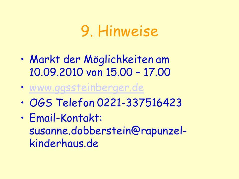 9. Hinweise Markt der Möglichkeiten am 10.09.2010 von 15.00 – 17.00