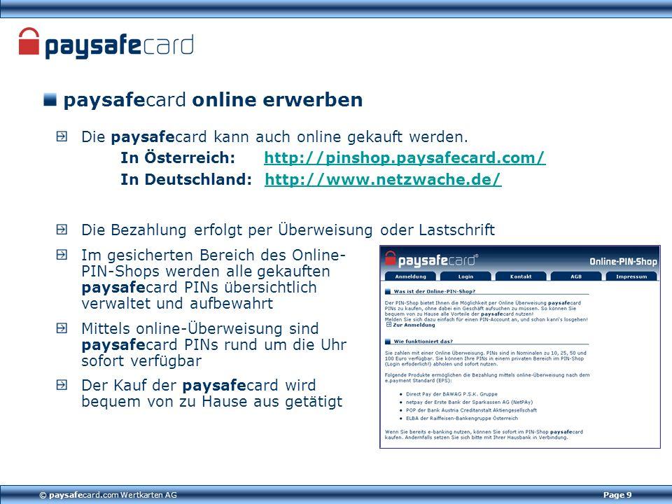 paysafecard online erwerben