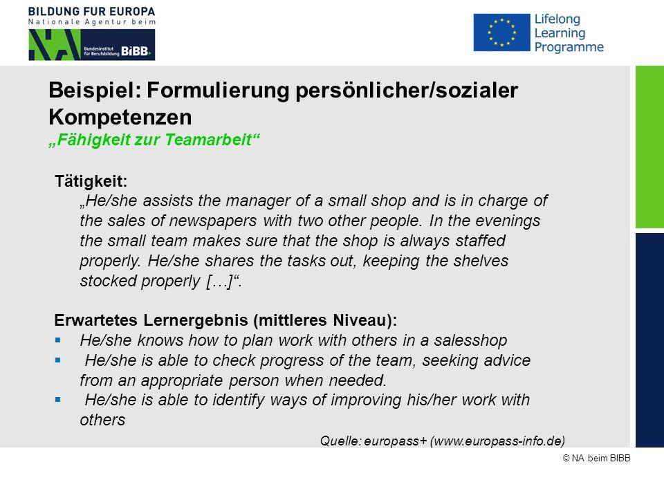 """Beispiel: Formulierung persönlicher/sozialer Kompetenzen """"Fähigkeit zur Teamarbeit"""