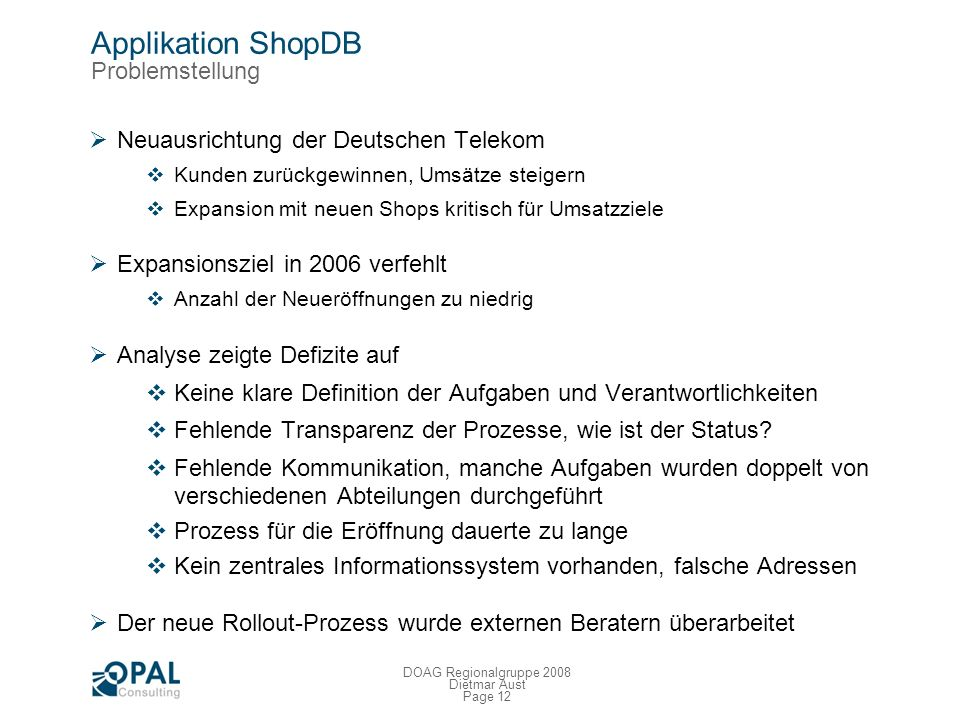 Applikation ShopDB Problemstellung