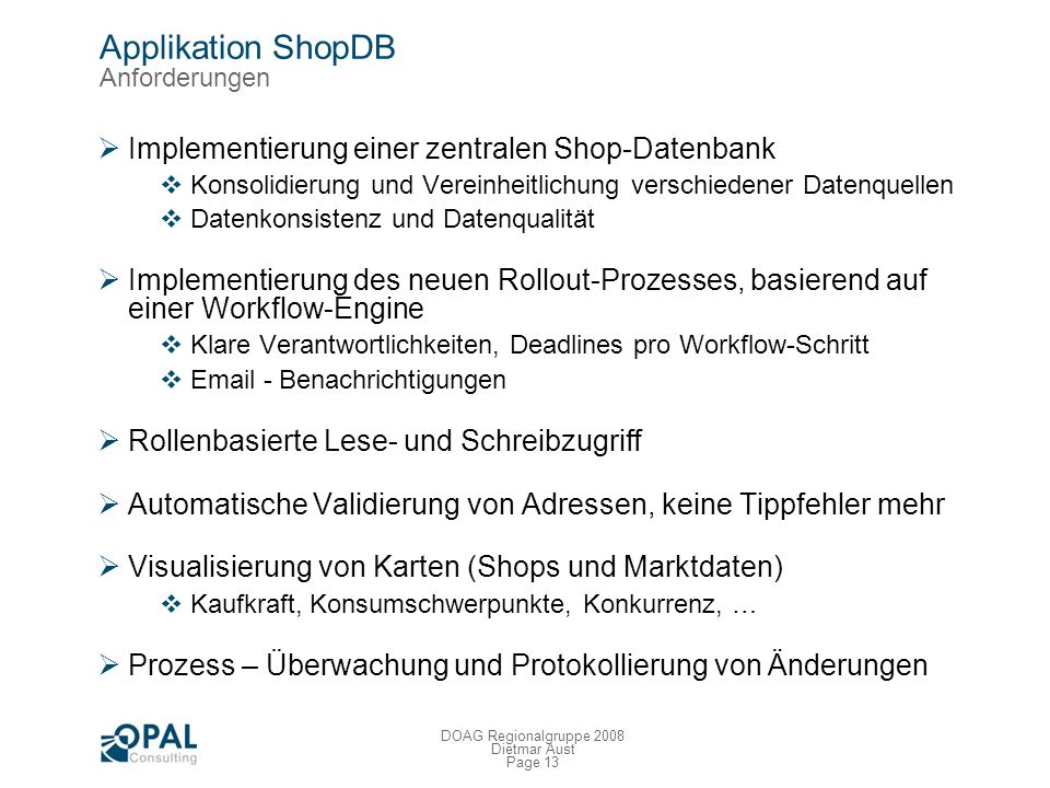Applikation ShopDB Anforderungen