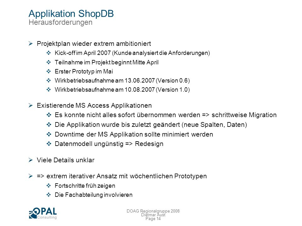 Applikation ShopDB Herausforderungen