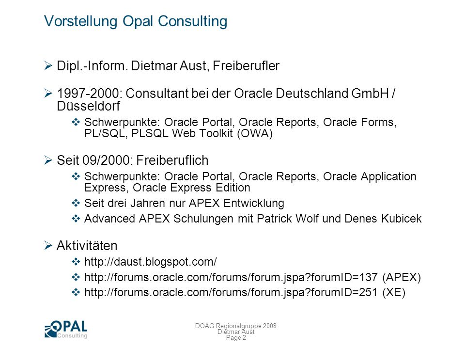 Vorstellung Opal Consulting