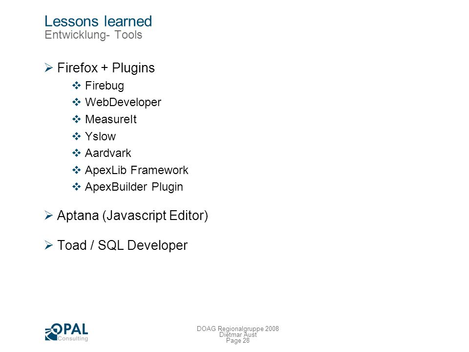 Lessons learned Entwicklung- Tools