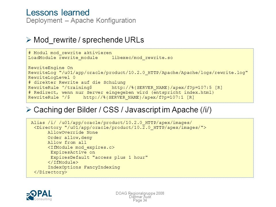 Lessons learned Deployment – Apache Konfiguration