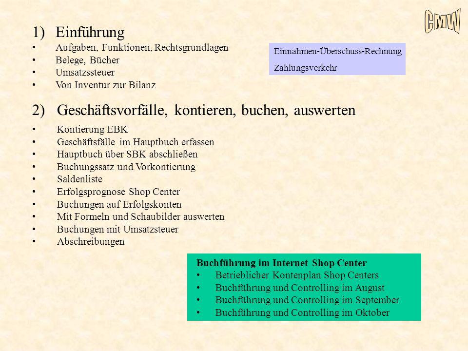 2) Geschäftsvorfälle, kontieren, buchen, auswerten