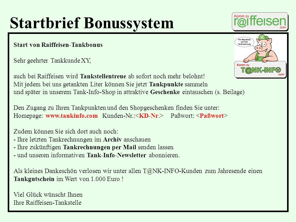 Startbrief Bonussystem
