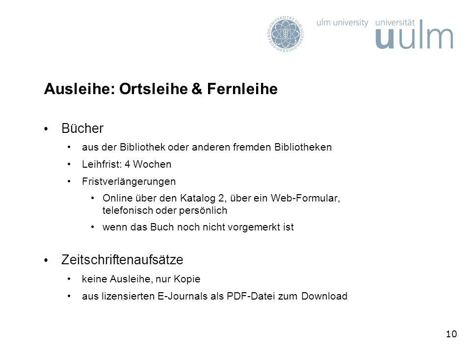 Ausleihe: Ortsleihe & Fernleihe