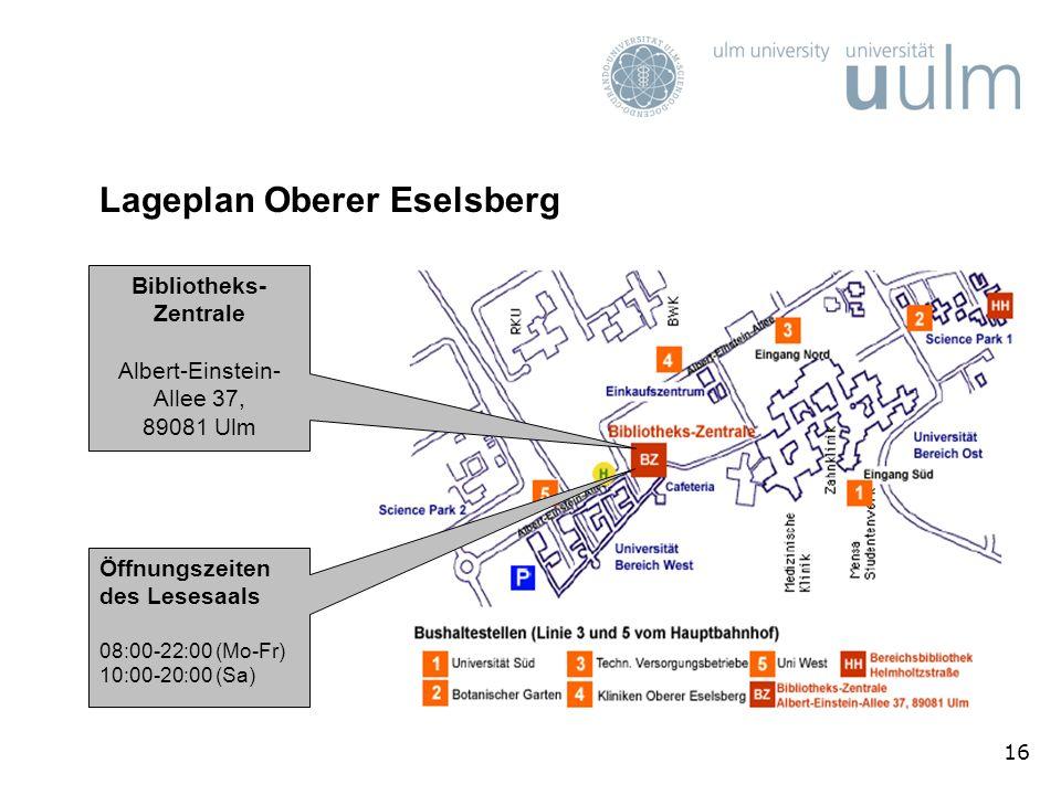 Lageplan Oberer Eselsberg