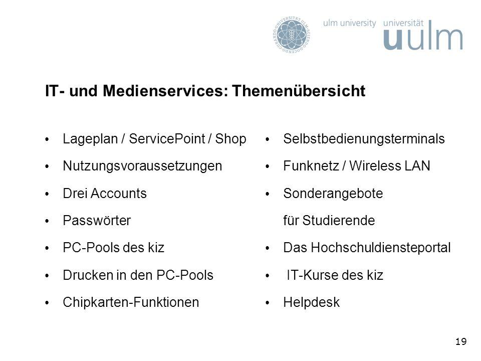 IT- und Medienservices: Themenübersicht