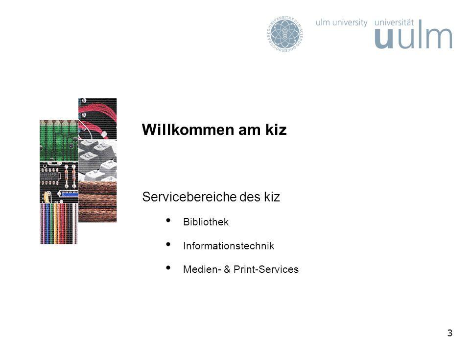 Willkommen am kiz Servicebereiche des kiz Bibliothek