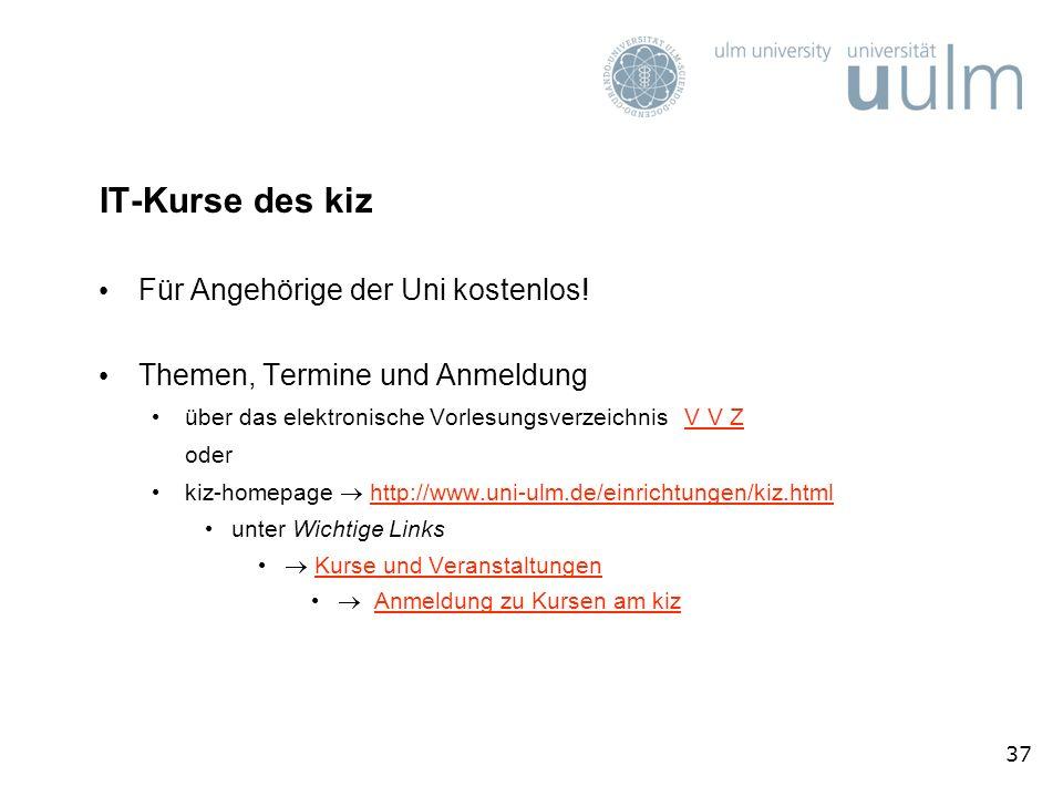 IT-Kurse des kiz Für Angehörige der Uni kostenlos!