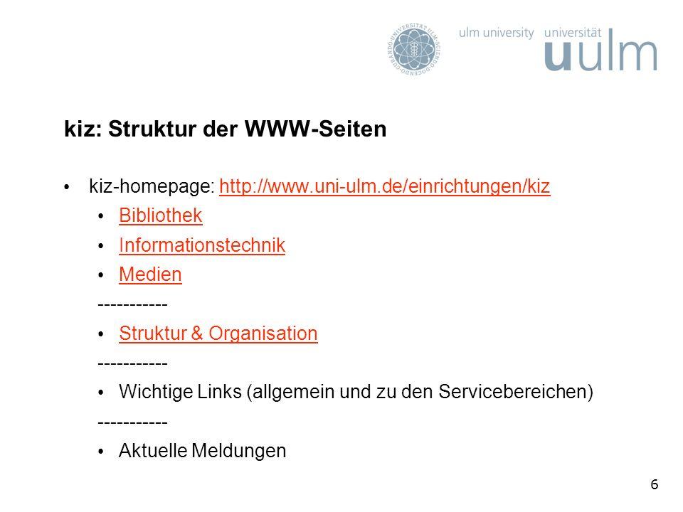 kiz: Struktur der WWW-Seiten