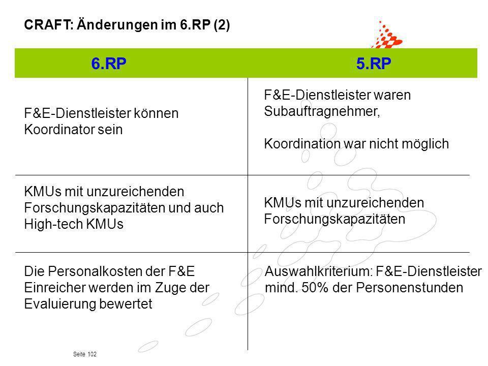 6.RP 5.RP CRAFT: Änderungen im 6.RP (2)