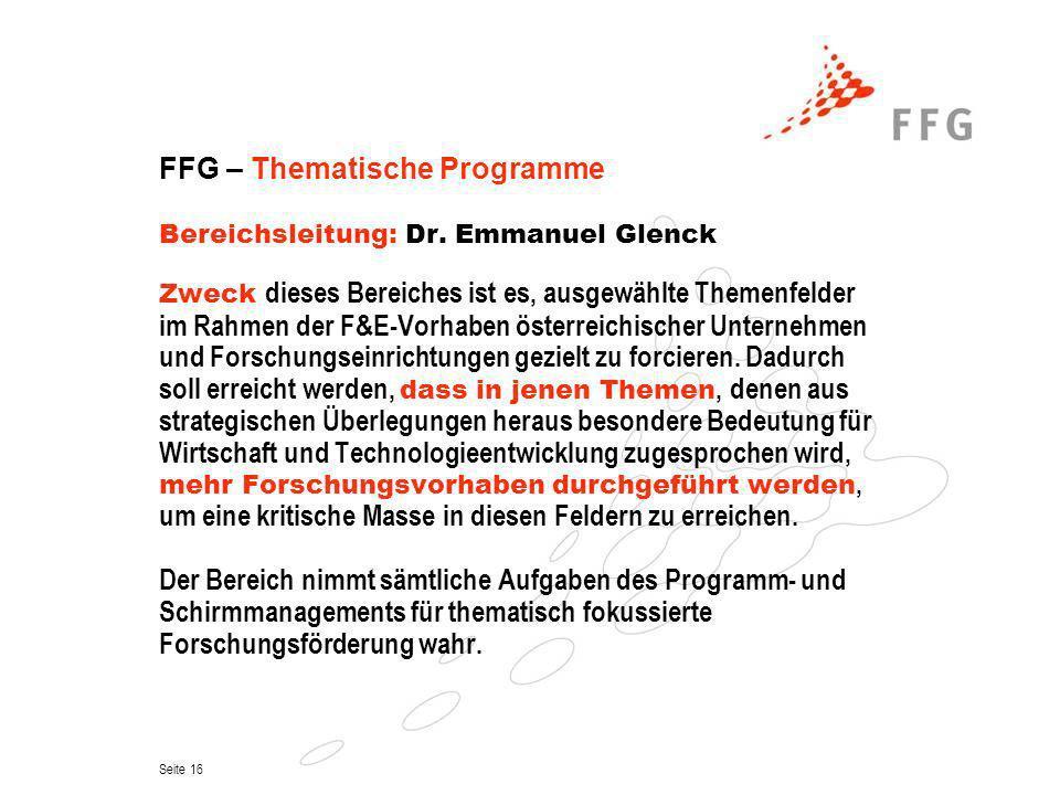 FFG – Thematische Programme