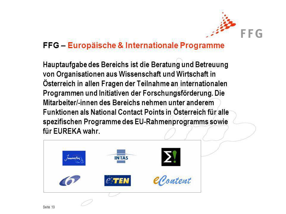 FFG – Europäische & Internationale Programme