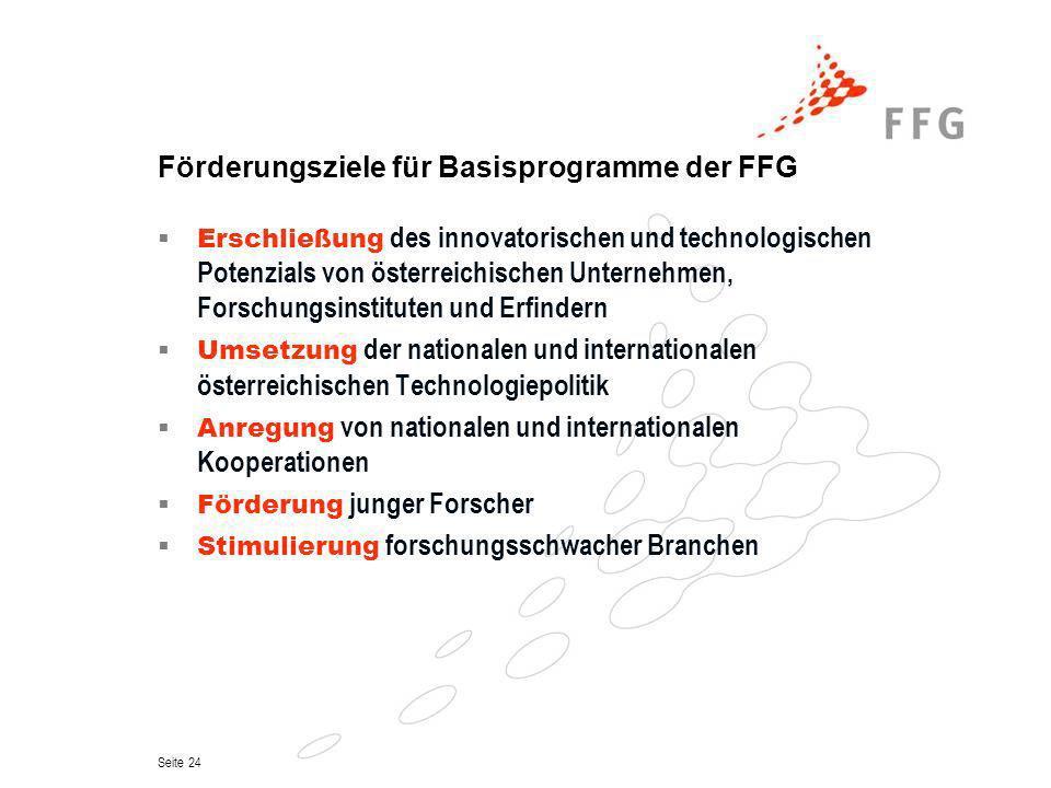 Förderungsziele für Basisprogramme der FFG