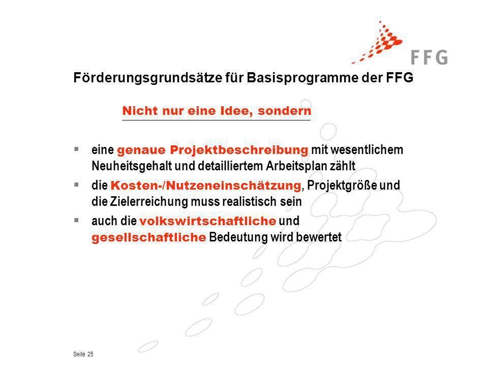 Förderungsgrundsätze für Basisprogramme der FFG