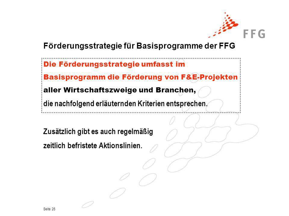 Förderungsstrategie für Basisprogramme der FFG