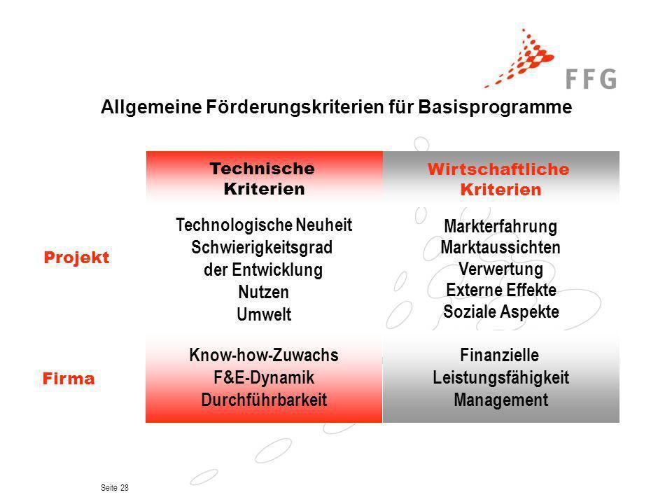 Allgemeine Förderungskriterien für Basisprogramme