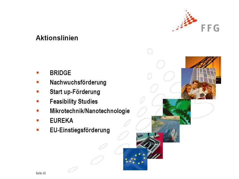 Aktionslinien BRIDGE. Nachwuchsförderung. Start up-Förderung. Feasibility Studies. Mikrotechnik/Nanotechnologie.