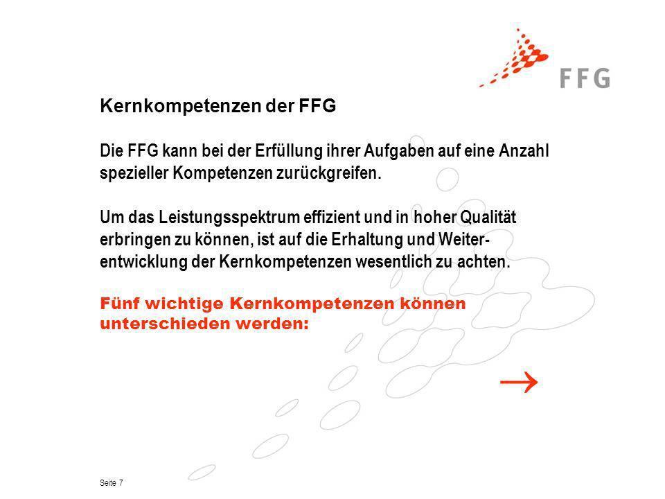 Kernkompetenzen der FFG